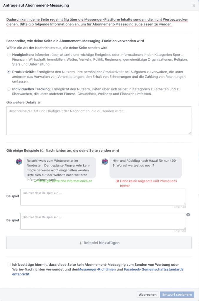 Nimm dir Zeit, fülle alle Informationen aus und gib einige Beispiele wie du deine Abonnenten informierst. Halte dich dabei an die Vorgabe.