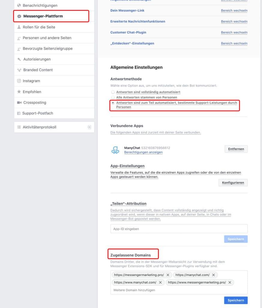 Facebook Seiteneinstellungen Messenger-Plattform
