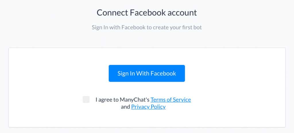 Registrierung auf ManyChat.com